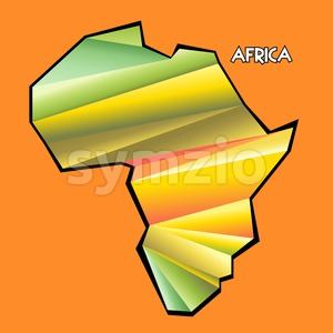 Digital vector africa map with abstract colored triangles and black outline, flat style Stock Vector