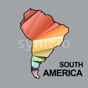 Digital vector south america map with abstract colored triangles and black outline, flat style Stock Vector