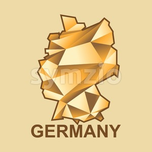 Digital vector germany map with abstract golden triangles and brown outline, flat style Stock Vector