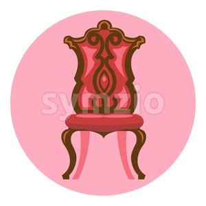Digital vector long red and brown vintage chair over pink background isolated, flat style Stock Vector