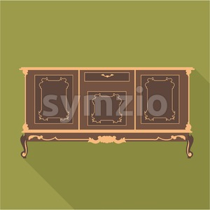 Digital vector vintage green cabinet furniture, desk for home and office over khaki background, flat style Stock Vector
