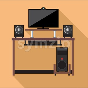 Digital vector pc computer with monitors and web camera set with furniture, flat style Stock Vector