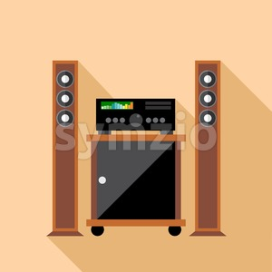 Digital vector hi-fi audio system with monitors and furniture, flat style Stock Vector