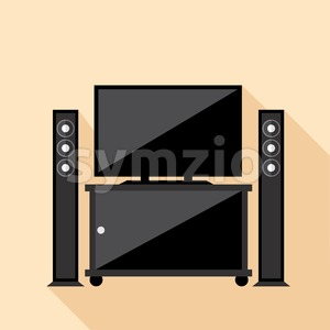 Digital vector hi-fi audio system with monitors and tv set with furniture, flat style Stock Vector