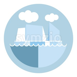 Digital vector iceberg and glacier icon, clouds and ocean water, global warming, flat style Stock Vector