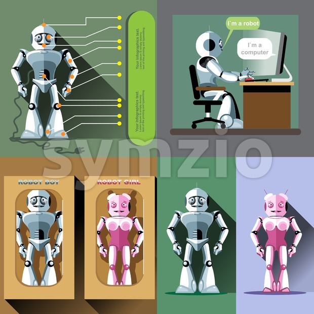 Digital vector silver and pink happy male and female robot set, working on computer, ready for sale in package, flat style Stock Vector