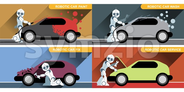 Digital vector silver happy robot set at autoservice fixing cars, painting and washing, flat style Stock Vector