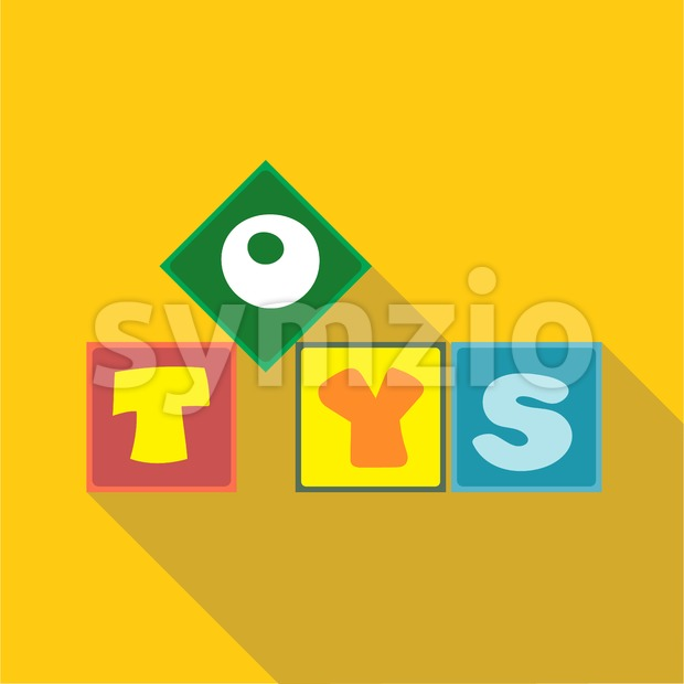 Digital vector toys box letters, over yellow background, flat style Stock Vector