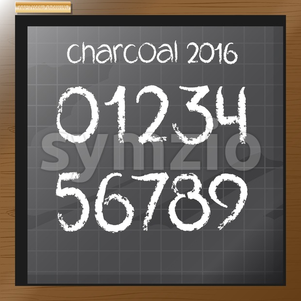 Digital vector charcoal hand drawn numbers, on a blackboard with grid, flat style Stock Vector