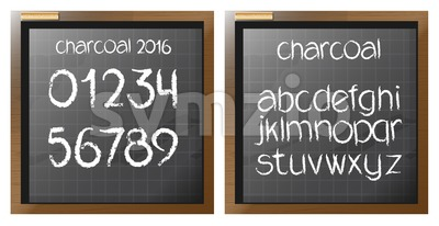 Digital vector charcoal hand drawn alphabet and numbers, on a blackboard with grid, flat style Stock Vector