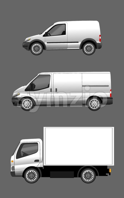 Digital vector silver and white realistic vehicle car set mockup, ready for your logo and design, flat style Stock Vector