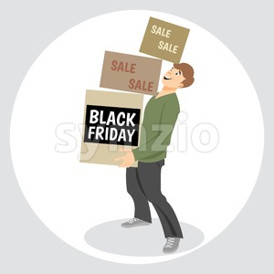 Digital vector black friday sale inscription design template with a happy man and shopping boxes Stock Vector