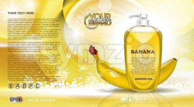 Digital vector yellow shower gel cosmetic container mockup, your brand, ready for print ads or magazine design. Banana fruit and soap bubbles. Stock Vector