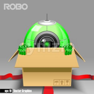 3d green robo eyeborg exiting from a brown box with red ribbon as a surprise. Big green and black eye and antenna, two hands. Digital vector image. Stock Vector