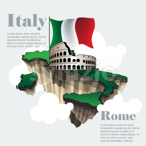 Italy country infographic map in 3d with country shape flying in the sky with clouds, big flag and the colosseum. Digital vector image Stock Vector
