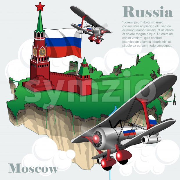 Russia country infographic map in 3d with country shape flying in the sky with clouds, flying airplanes, red star. Digital vector image Stock Vector