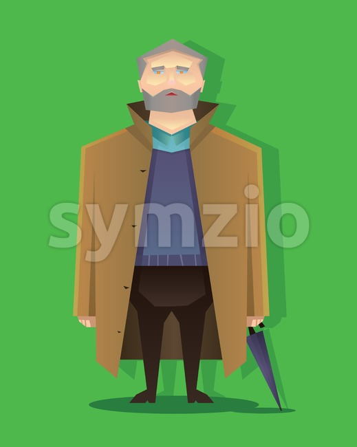 Digital vector abstract old cartoony man with brown coat, beard and umbrella, over green background, flat triangle style Stock Vector