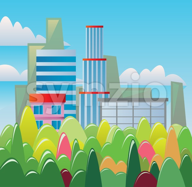 Digital vector abstract background with buildings and city view, forest with red, green and yellow trees, clouds, blue sky, flat triangle style Stock Vector