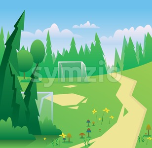 Digital vector abstract background with meadow with flowers and mushrooms, forest with green trees, clouds, football and soccer field and gates, blue Stock Vector
