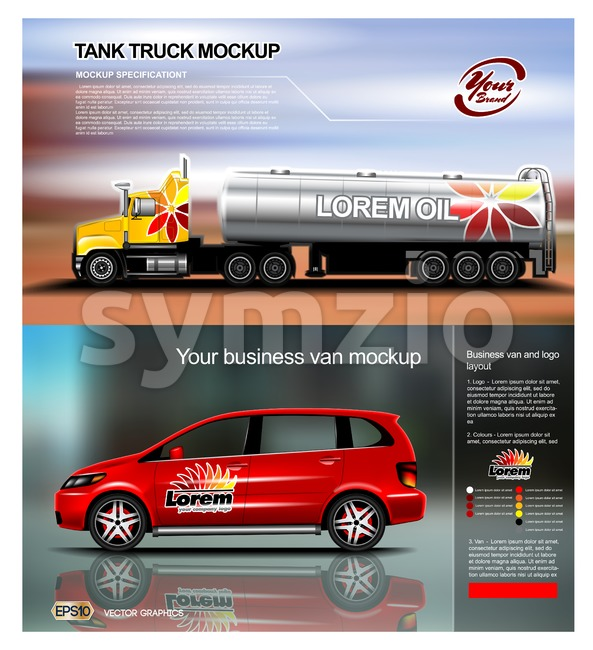 Digital vector red new modern business vehicle van and truck close up mockup, ready for print or magazine design. Your brand, motor show. Black Stock Vector