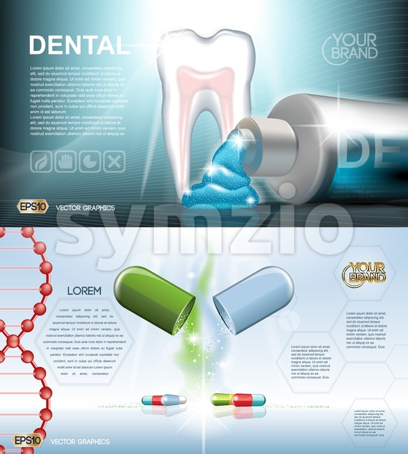 Digital vector blue medicine toothpaste infographics of oral hygiene mockup and tooth structure with pills, with your brand, for print ads or magazine Stock Vector