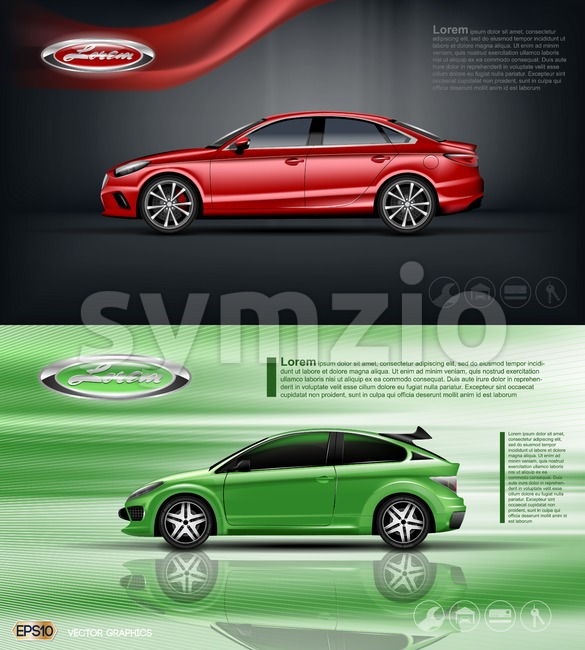Digital vector red and green model sedan car with black windows mockup, your brand, ready for print ads or magazine design. Dark background with Stock Vector