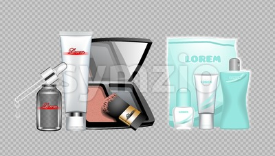 Digital vector skin care cream, lotion, mascara and mirror cosmetic container set mockup collection, package, magazine design. Transparent and shine Stock Vector