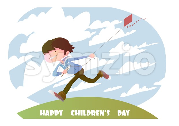 Digital vector happy children day card, running kid with a kite and clouds