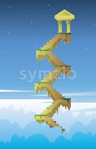 Digital vector, fairytale and fantasy stairs into the dark blue sky with golden tower in the air, flat style Stock Vector