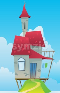 Digital vector, fairytale and fantasy castle with red roof built on a green hill, dark blue sky with white clouds, flat style Stock Vector