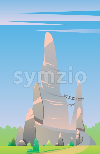 Digital vector, fairytale and fantasy big silver rock with wooden bridges on a green hill with trees, dark blue sky with pink clouds, flat style Stock Vector