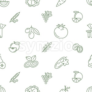 Digital green vegetable icons set infographics drawn simple line art pattern, onion squash pear orange apple grape carrot wallnut peas watermelon Stock Vector