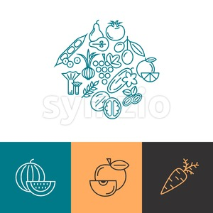 Digital blue vegetable icons set infographics drawn simple line art pattern, onion squash pear orange apple grape carrot wallnut peas watermelon Stock Vector
