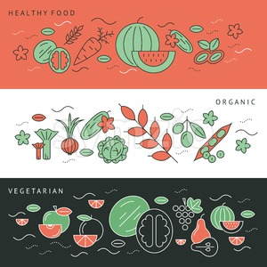 Digital green black red vegetable icons set infographics drawn simple line art pattern, onion squash pear orange apple grape carrot wallnut peas Stock Vector