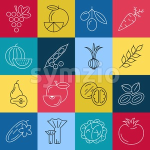 Digital green red blue yellow vegetable square icons set infographics drawn simple line art pattern, onion squash pear orange apple grape carrot Stock Vector