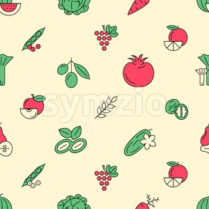 Digital green red vegetable icons set infographics drawn simple line art pattern, onion squash pear orange apple grape carrot wallnut peas watermelon Stock Vector