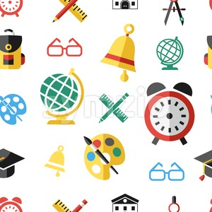 Digital vector green red yellow school icons with drawn simple line art seamless pattern, children map globe hat bell clock pen ruler book apple girl Stock Vector