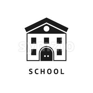 Digital vector black school icon with drawn simple line art, building main entrance outline, flat style Stock Vector