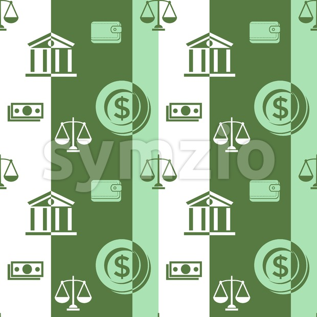 Digital vector green business icons with drawn simple line art info graphic seamless pattern, card calculator coin wallet bank safe balance money, Stock Vector
