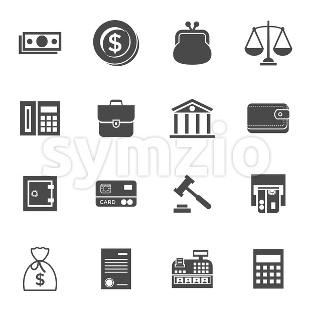 Digital vector black business icons with drawn simple line art info graphic, presentation with 16 economy elements around promo template, flat style Stock Vector