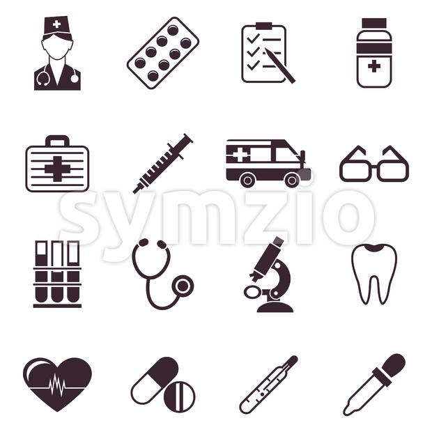 Digital vector black medical icons with drawn simple line art info graphic, ambulance tooth pills nurse heart tubes syringe medicine dropper first aid Stock Vector