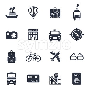 Digital vector black travel icons set with drawn simple line art info graphic poster promo, ship boat camera balloon luggage compass air plane map Stock Vector