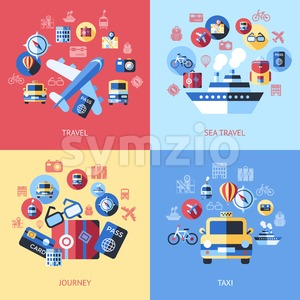Digital vector blue red travel icons set with drawn simple line art info graphic poster promo, ship boat camera balloon luggage compass air plane map Stock Vector