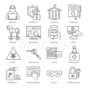 Digital vector internet security data protection icons set drawn simple line art info graphic poster, hacker user bug vulnerability mobile email Stock Vector