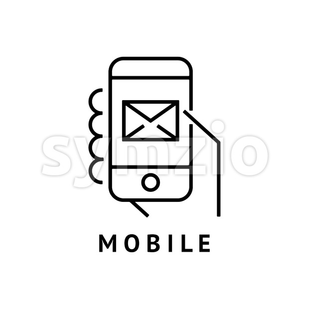 Digital vector black hand mobile phone email icon with drawn simple line art, flat style Stock Vector