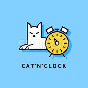 Digital vector blue and yellow lazy cat sitting with clock, drawn simple line art, flat style Stock Vector
