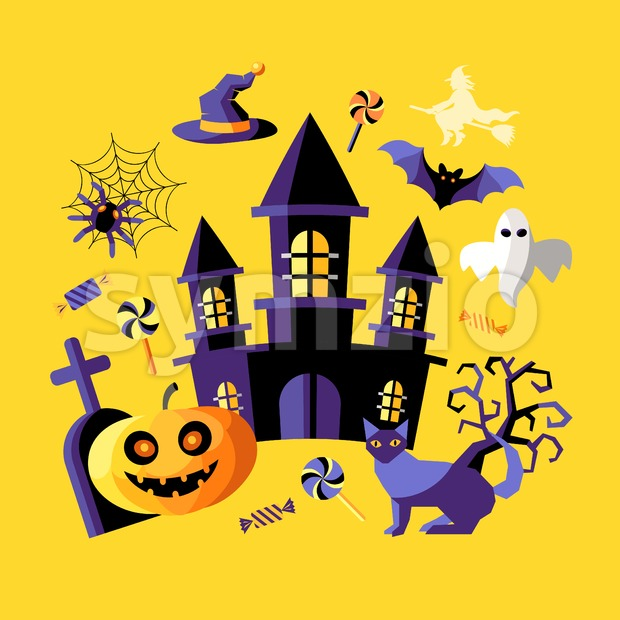 Digital vector yellow purple happy halloween icons with drawn simple line art info graphic, presentation with bats, cat and pumpkin elements around Stock Vector