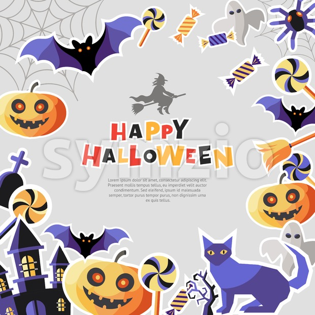 Digital vector silver purple happy halloween icons with drawn simple line art info graphic, presentation with bats, cat and pumpkin elements around Stock Vector