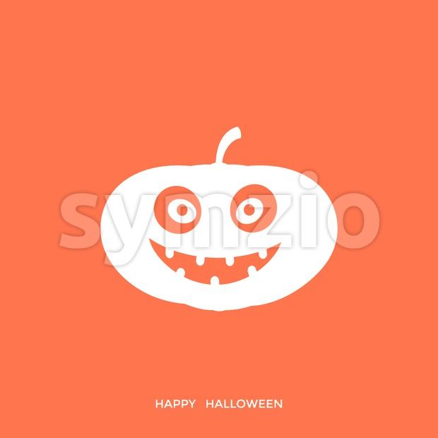 Digital vector orange happy halloween icon with drawn simple line art info graphic, presentation with big pumpkin scary spooky face promo template, Stock Vector