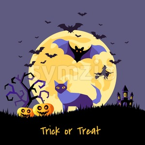 Digital vector yellow purple happy halloween icons with drawn simple line art info graphic, presentation with bats big moon, cat and pumpkin elements Stock Vector